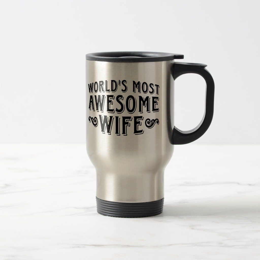 Zazzle Awesome Wife Coffee Mug, Stainless Steel Travel/Commuter Mug 15 oz