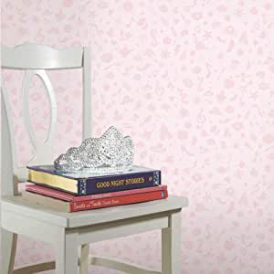 Roommates Disney Princess Icons Pink Peel and Stick Wallpaper with Glitter | Removable | Girls Room Decor