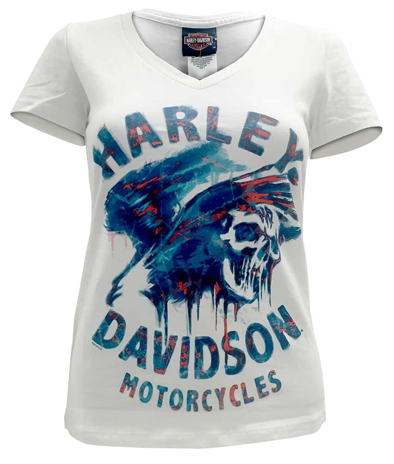 Harley-Davidson Women's Flaming Power Skull Short Sleeve Stretch Tee 5E35-HB6W