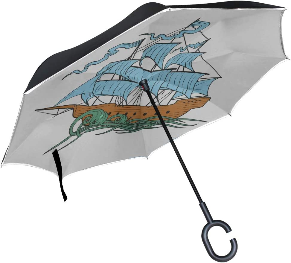 Double Layer Inverted Inverted Umbrella Is Light And Sturdy Sailing Ship Reverse Umbrella And Windproof Umbrella Edge Night Reflection