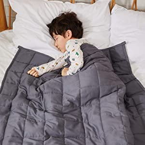 ZonLi Kids Weighted Blanket 5 lbs(36''x48'', Grey), Cooling Weighted Blanket for Kids, 100% Cotton Material with Glass Beads