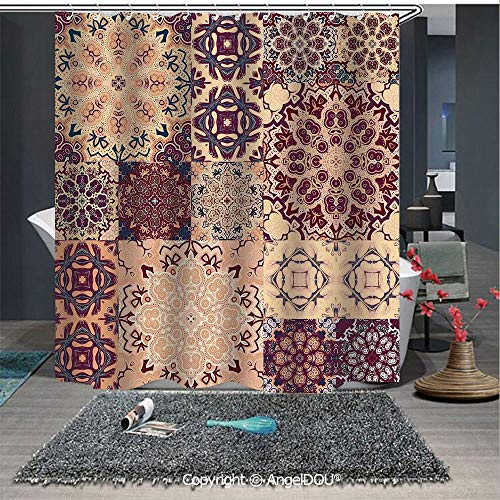 - AngelDOU Moroccan Fashion Styles Printed Shower Curtain Large Set of Colorful Vintage Ceramic Tiles Arabesque Authentic Floral Forms for Home Hotel Club Bathroom Decoration