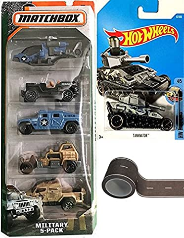 Tank Hot Wheels & Matchbox Military 5-Pack Army MP Jeep + Road Play Tape Humvee / Helicopter / Tanknator Camo (Bell Tanker)