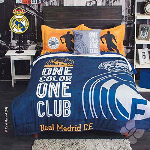 JORGE'S HOME FASHION INC REAL MADRID SPAIN SOCCER TEENS BOYS COMFORTER SET WITH SHERPA SET 5 PCS QUEEN SIZE by JORGE'S HOME FASHION INC