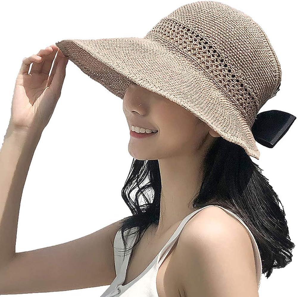 Lazzon Mujer Sombrero Sol de Paja Verano Playa Pamelas Raffia Protección ala Ancha UV Gorro Plegable con Bowknot