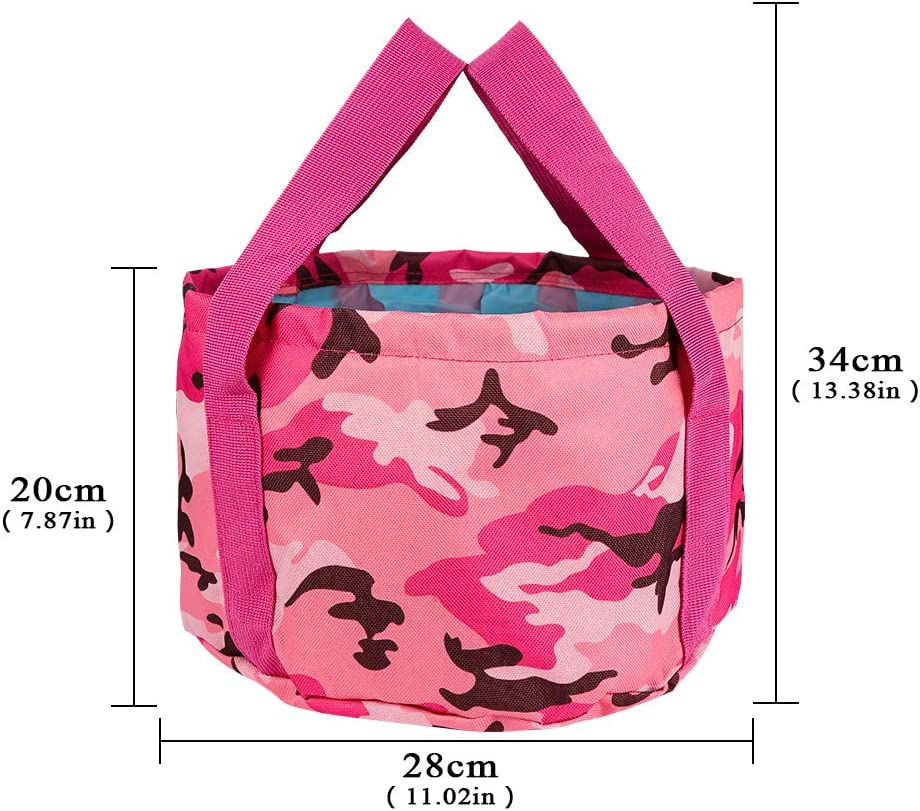Girlslove talk Folding Water Bucket,Portable Lightweight Pail Container Camping Hiking Storage Pouch for Camping Hiking Fishing Travel Camouflage Blue