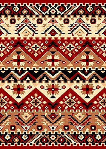 """Furnish my Place Southwest Southwestern Modern Geometric Area Rug, Rustic Lodge 655, Red - 8 mm pile height (.32 inch) Backing is latex and jute is the weft Actual size for 8'x10' is 8'2 x10, actual size for 5'x8' is 5' x 7'5"""", actual size for 4x6 is 3'6""""x5'6"""" - living-room-soft-furnishings, living-room, area-rugs - 61VwKSnkD1L -"""