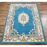 Traditionnelle classique Aubusson Floral 100% laine tuftée à la main Imprimé chinois-Tapis-Bleu-Dimensions: 120 x 180 cm