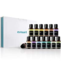 Arawell Essential Oil Set, Top 14 100% Pure Therapeutic Grade Aromatherapy Oils Gift Kit for Diffuser - Lavender, Peppermint, Tea Tree, Rosemary, Eucalyptus, Bergamot, Lime, Frankincense, Lemon, Cinnamon, Orange, Tangerine, Lemongrass, and Clary Sage