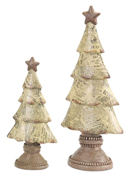 Rustic Unique Newspaper Print Table Top Christmas Tree Decorations | christmastablescapedecor.com