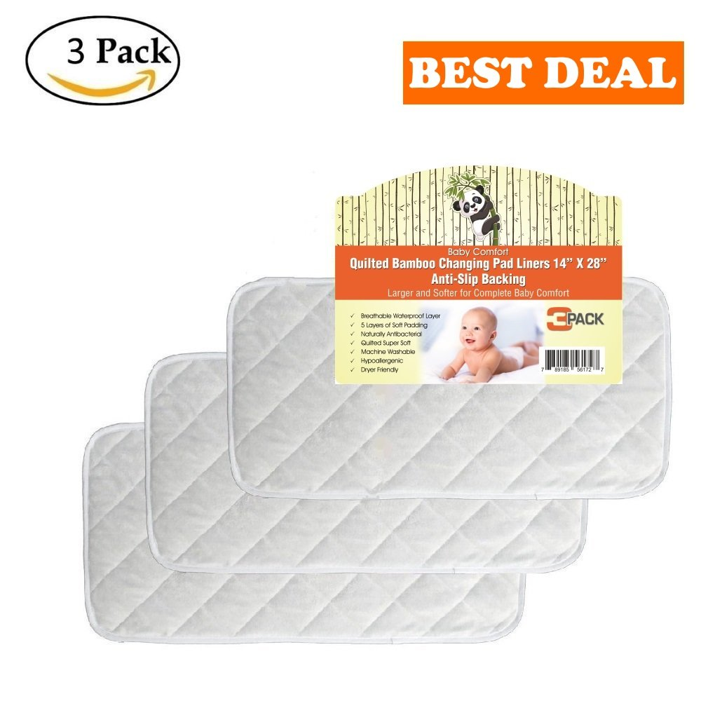 "Quilted Non-Slide Bamboo Changing Pad Liners 3/PACK –28"" x 14"", Thicker 5 Layers, Waterproof, Hypoallergenic, Antibacterial, Reusable, Machine Washable & Dryer Friendly Baby Comfort"