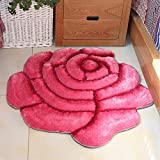 3D Round Roses Mats Living Room Colorful Rose Area Rug for Girls/Women/Ladies - MAXYOYO Polyester Beautiful Rose Round Carpet Rug Floor Mat, Diameter 35.4 Inch