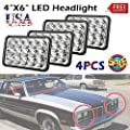 4X6 LED Headlight Rectangle for Trucks Cars High and Low Beam 6000K White Super Bright 45W for Oldsmobile Delta 88 H4651 H4652 H4656 H4666 H6545