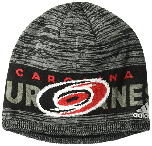 fan products of NHL Carolina Hurricanes Adult Men Pro Authentic Cuffed Beanie with Chrome Shield, One Size, Black
