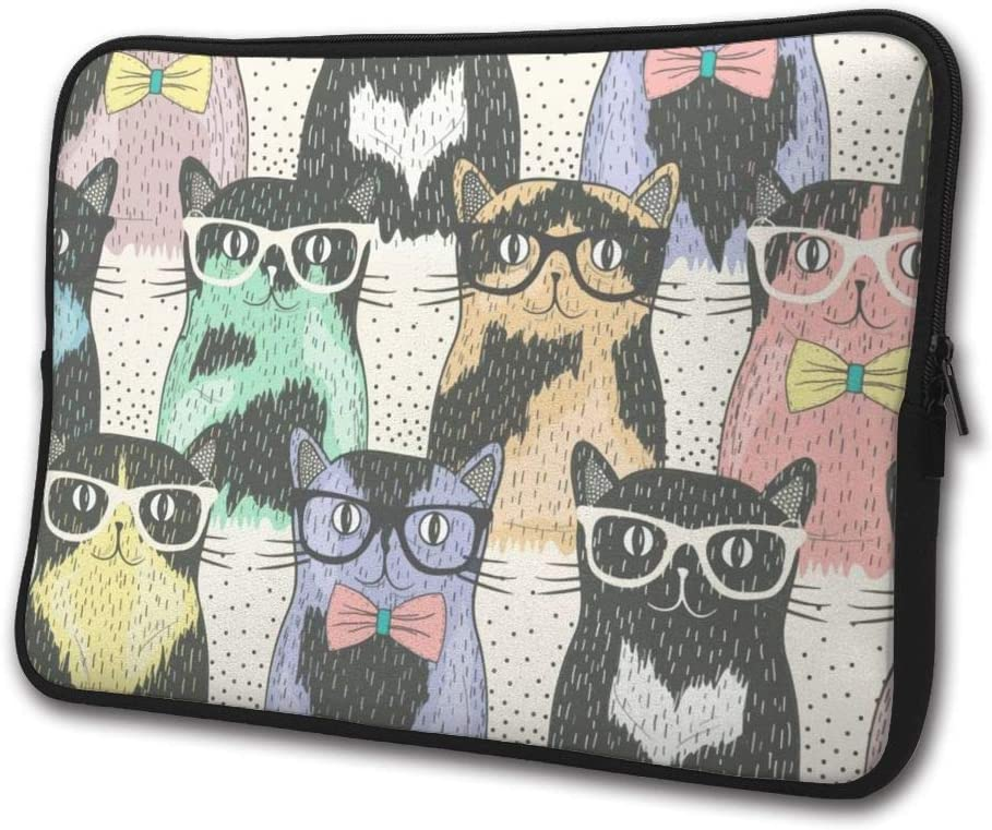 SWEET-YZ Laptop Sleeve Case Nerdy Cats Notebook Computer Cover Bag Compatible 13-15 Inch Laptop