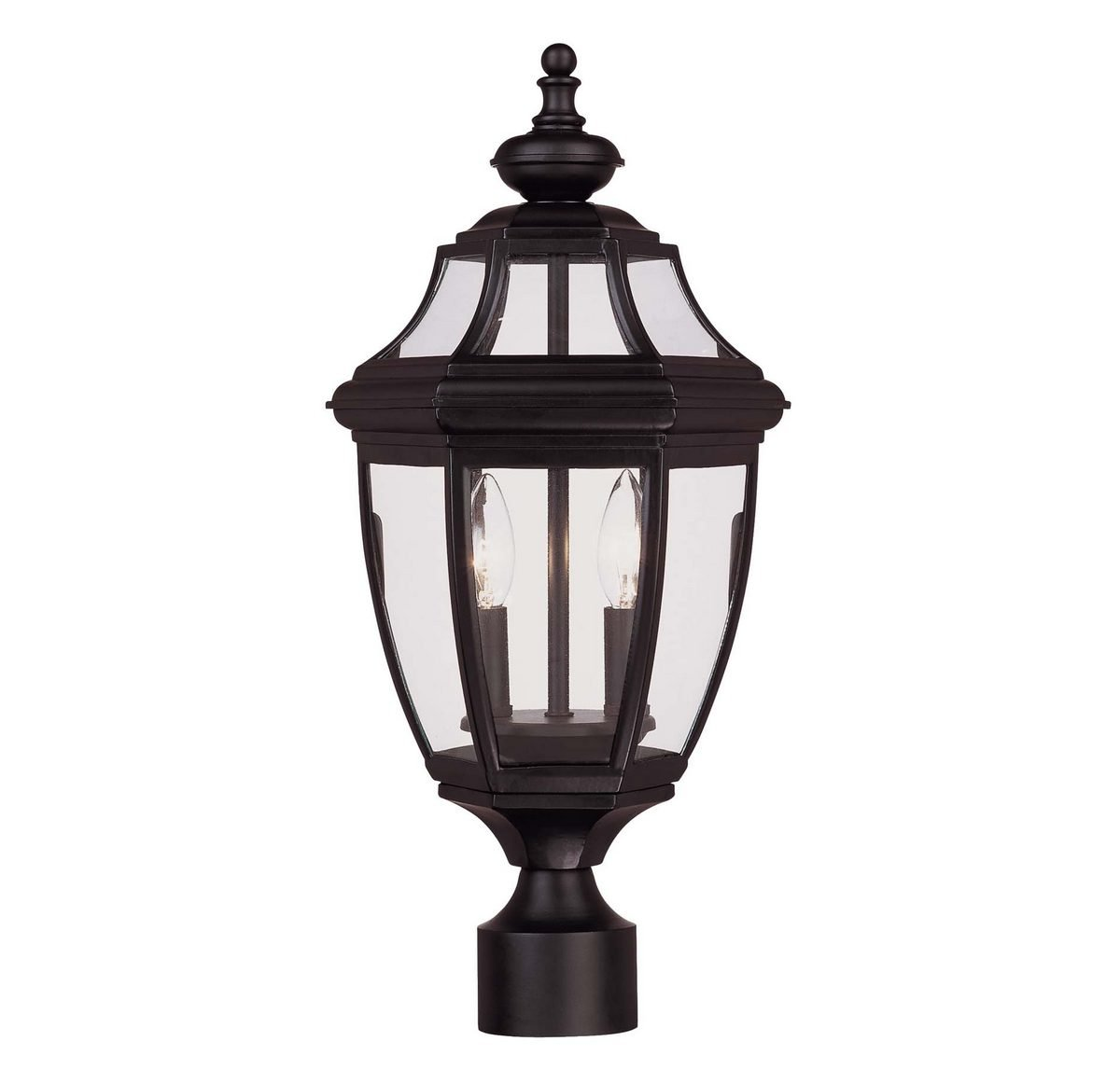Savoy House Lighting 5-497-BK Endorado Collection 2-Light Outdoor Post Mount Lantern, Black Finish with Clear Glass