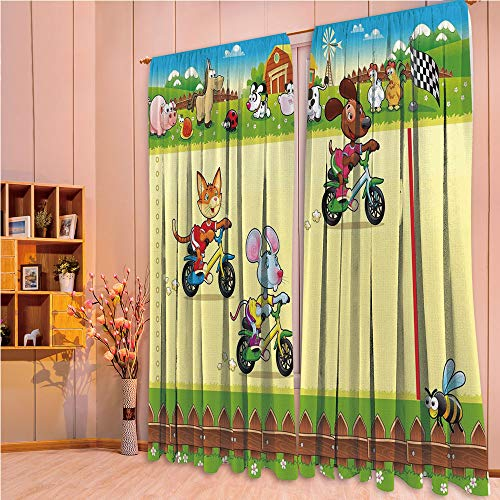 ZHICASSIESOPHIER Modern Style Room Darkening Blackout Window Treatment Curtain Valance for Kitchen/Living Room/Bedroom/Laundry,on The Bike in Farm with Animal Comic Caricature 108Wx108L Inch
