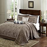 5 Piece 102 x 118 Oversized Blue Brown Queen Bedspread To The Floor Set, Extra Long Jacquard Paisley Bedding Xtra Wide Drops Over Edge Frame, Drapes Down Sides Hangs Over Bed, Polyester