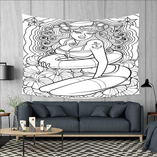 smallbeefly Nautical Wall Tapestry Tattoo Coloring Book Style Sexy Pin Up Girl with Hibiscus Flowers Curls and Stars Home Decorations for Living Room Bedroom 80