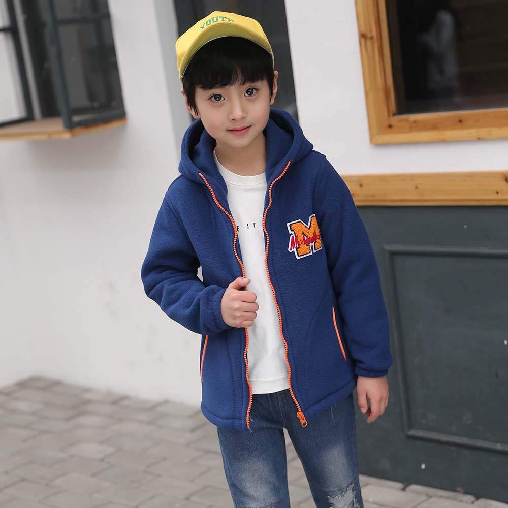 Kids Baseball Coat Baby Boys Fleece Hooded Jackets Warm Outwear Clothing