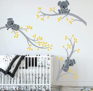 LUCKKYY Three Koalas Tree Branches Wall Decal Wall Sticker Baby Nursery Decor Kids Room Decoration (Grey+Yellow)