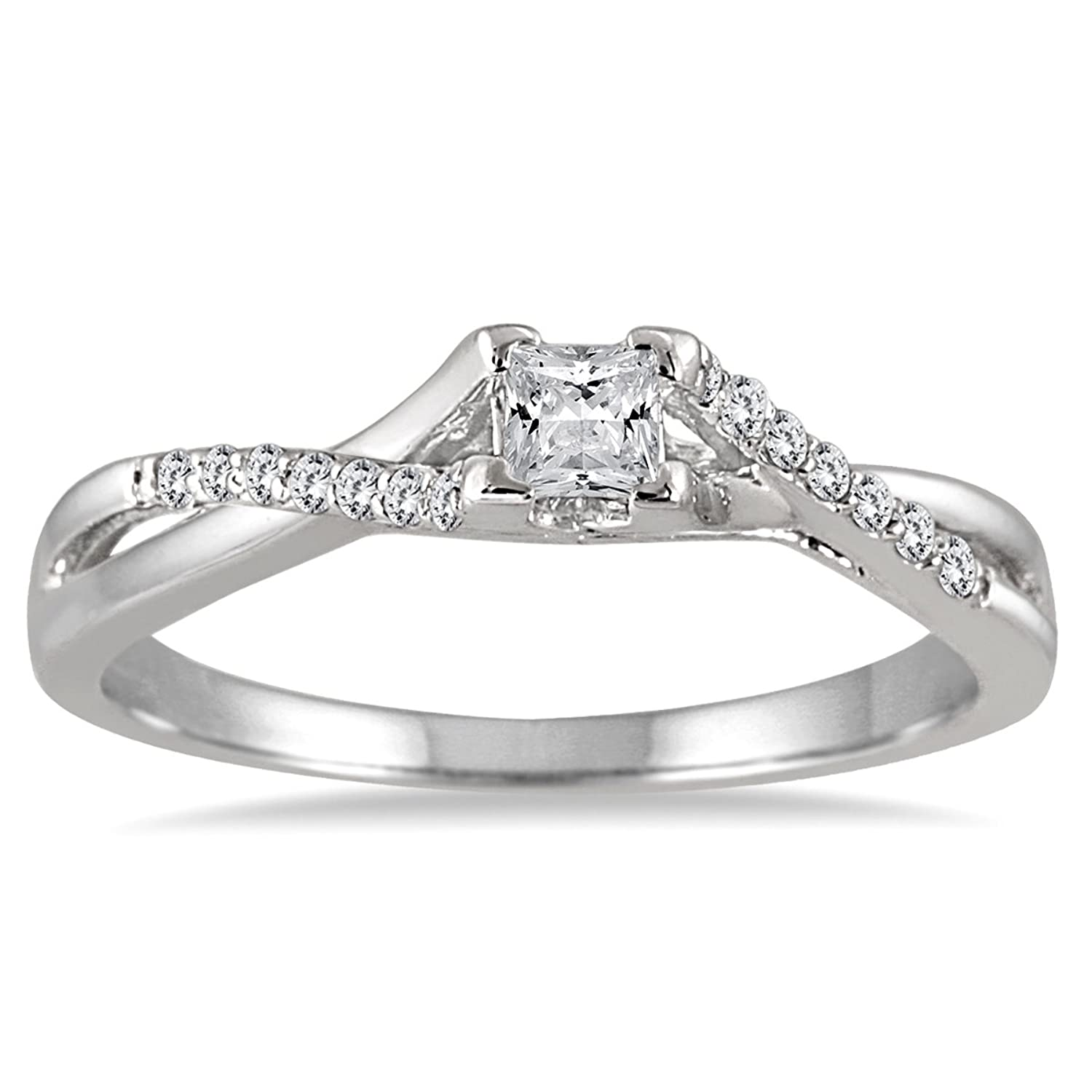 AGS Certified 1 3 Carat TW Princess Cut Diamond Engagement Ring In 10K White Gold K L Color I2 I3 Clarity