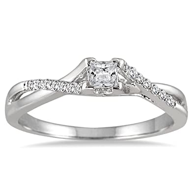 AGS Certified 1/3 Carat TW Princess Cut Diamond Engagement Ring In 10K  White Gold