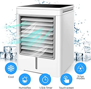 Portable Space Air Conditioner, Personal Air Cooler - 3 in 1 Mini USB Air Conditioner, Purifier, Sterilizer, Humidifier, 3 Speeds Mini Air Conditioner Fan with Timing Function for Home Room Office