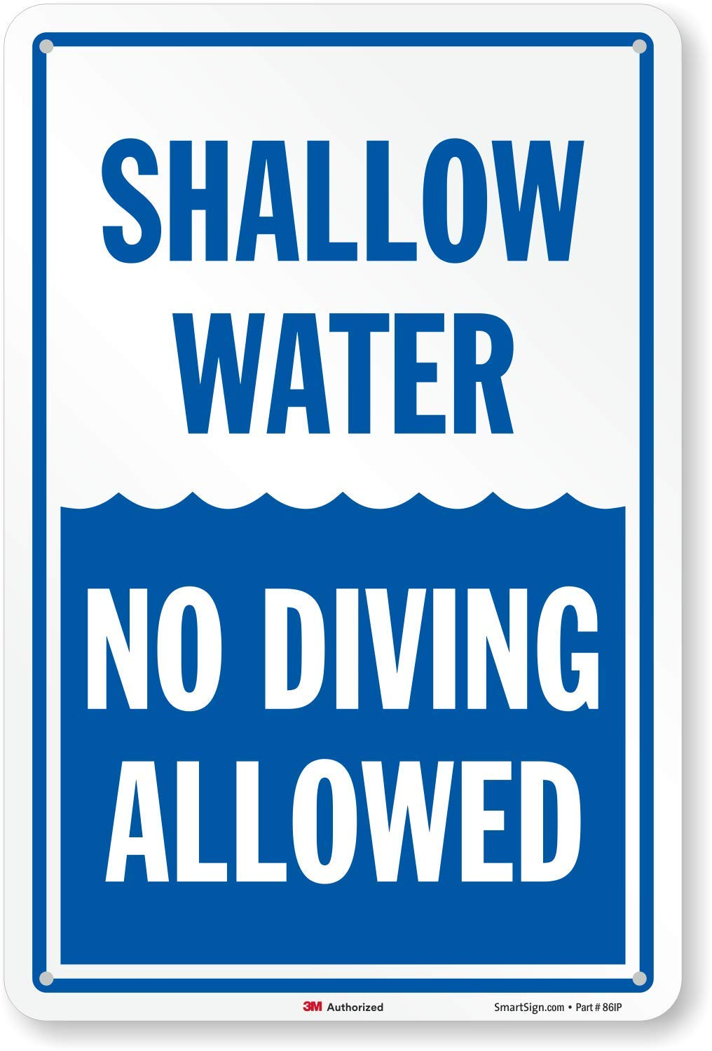 Shallow Water No Diving Allowed Sign, 18'' x 12'' by SmartSign