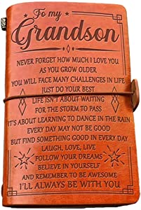 to My Grandson Leather Journal -Follow Your Dreams and Remember to Be Awesome I'll Always Be with You - 2 Refillable Notepads Writing Diary Gift for Boys