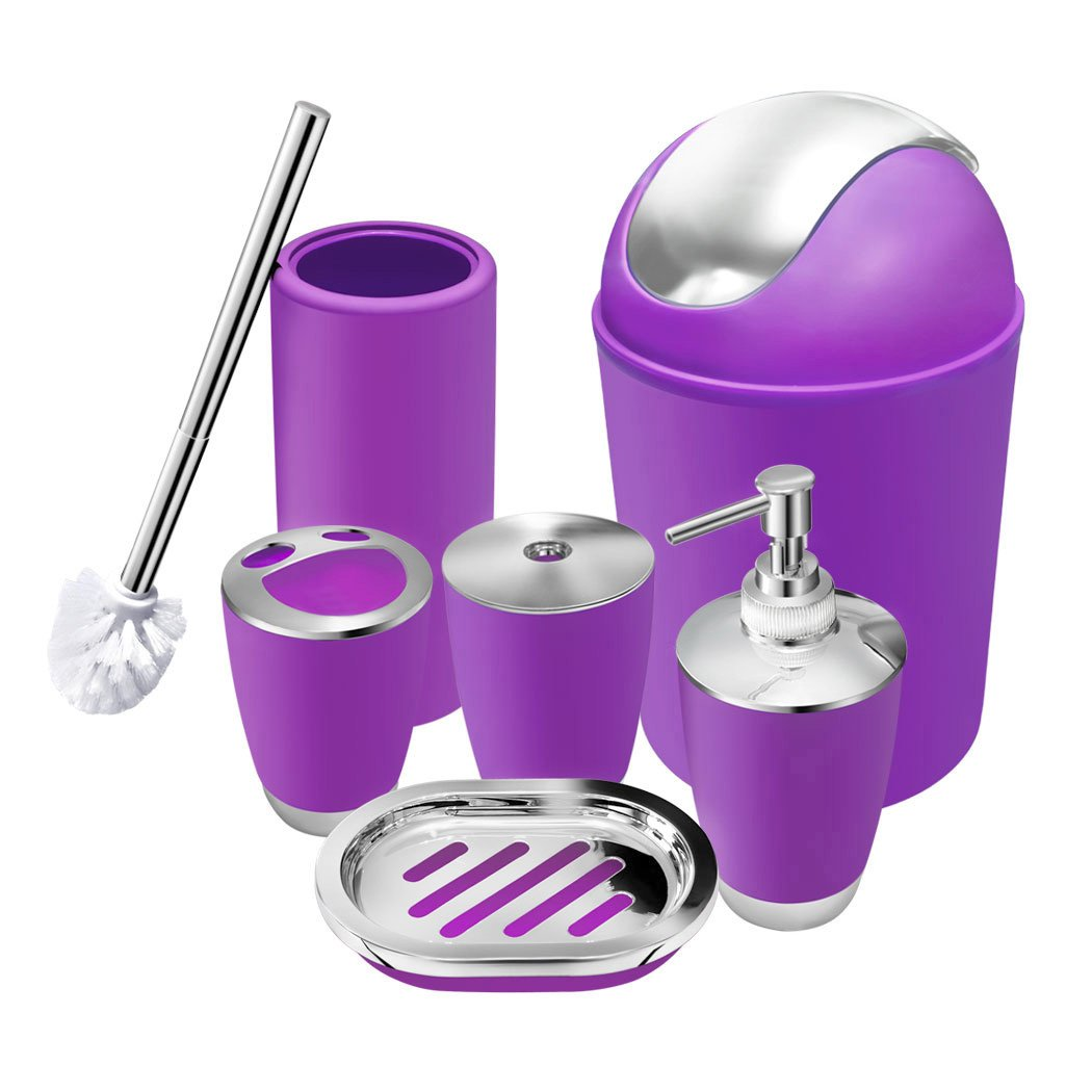 6 Piece Bathroom Accessories Set,Plastic Bath Ensemble Bath Set Lotion Bottles, Toothbrush Holder, Tooth Mug, Soap Dish, Toilet Brush, Trash Can (purple)