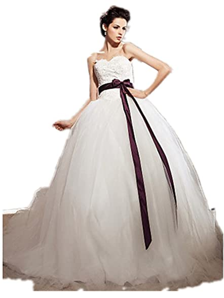 Quality Made to Measure Ball Gown Sweetheart Tulle Chapel Train Wedding Dress SALE PROMOTION