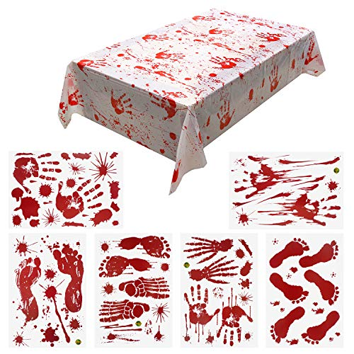 Halloween Decorations Sheets (Pandecor Bloody Tablecloth and 6 Sheets Bloodstained Stickers for Halloween)