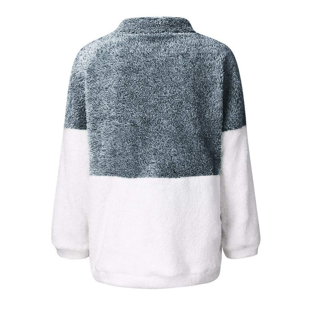 Winter Coats for Women Libermall Womens Long Sleeve Stitching Zip Up Plush Oversized Coat Jacket Cardigan with Pockets