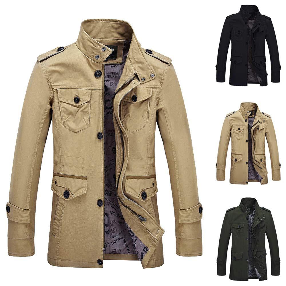 AKIMPE Men Winter Warm Jacket Overcoat Outwear Slim Long Trench Buttons Zipper Coat
