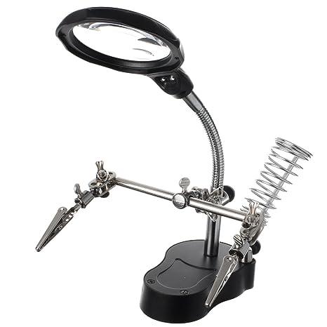 Lupa con pinzas- BAtech Multifuncional Lupa 3X /12X Aumento con luz LED de cocodrilo