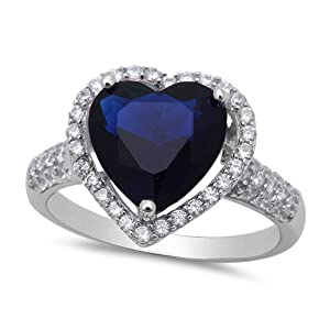 Dazzling Halo Heart Promise Ring Simulated Deep Blue Sapphire Round Cubic Zirconia 925 Sterling Silver
