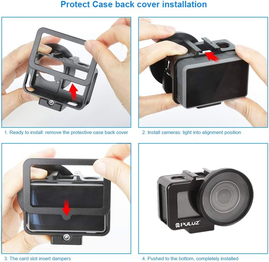 XIAOMIN Housing Shell CNC Aluminum Alloy Protective Cage with 52mm UV Lens for DJI Osmo Action Black Premium Material Color : Black