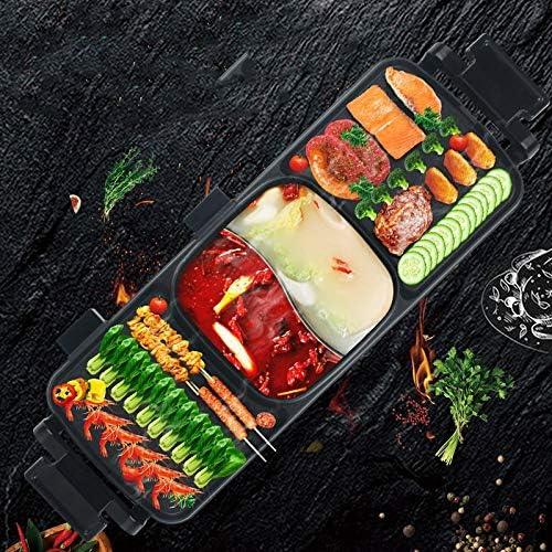 XTMM Électrique Barbecue Grill sans Fumée Plaque De Cuisson Double-Saveur Hot Pot Multi-Fonction Griddle Outils Plat Griddle Intérieur Grill Hot Pot