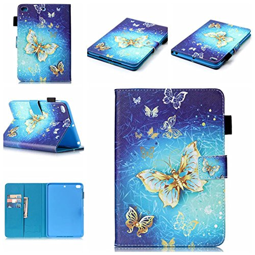 ipad Mini Case,Flip Magnetic Cover Case Flower Pattern PU Leather [Card Slot/Stand Function] ipad Mini 1 2 3 Smart Case Fashion Case for ipad Mini 1 2 3 (Gold Butterfly) (Calling Card Flower)