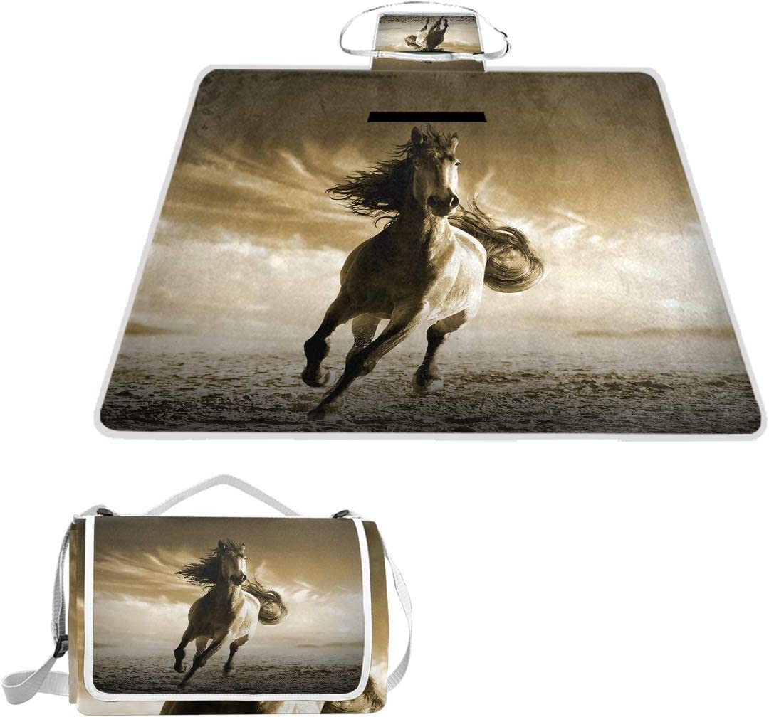 SLHFPX Running Horse Waterproof Picnic Blanket Lawn Blanket Sandproof Beach Blanket Travel Tent BBQ Mat Camping Tote Layers Portable Family Size Handy Mat 57 x 59
