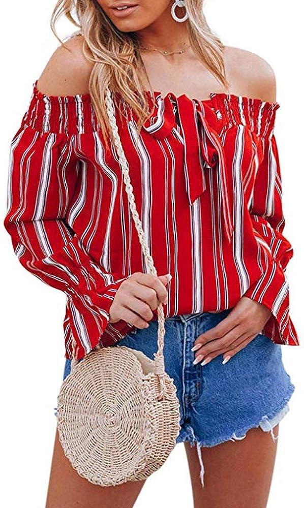 Camiseta Rayas Mujer Mujeres Blusas de Moda con Hombros Descubiertos Manga Larga Cuernos Estampado Floral Tops Escote Arco Blusones Elegantes Camiseta Sexy de Las señoras LiNaoNa: Amazon.es: Ropa y accesorios