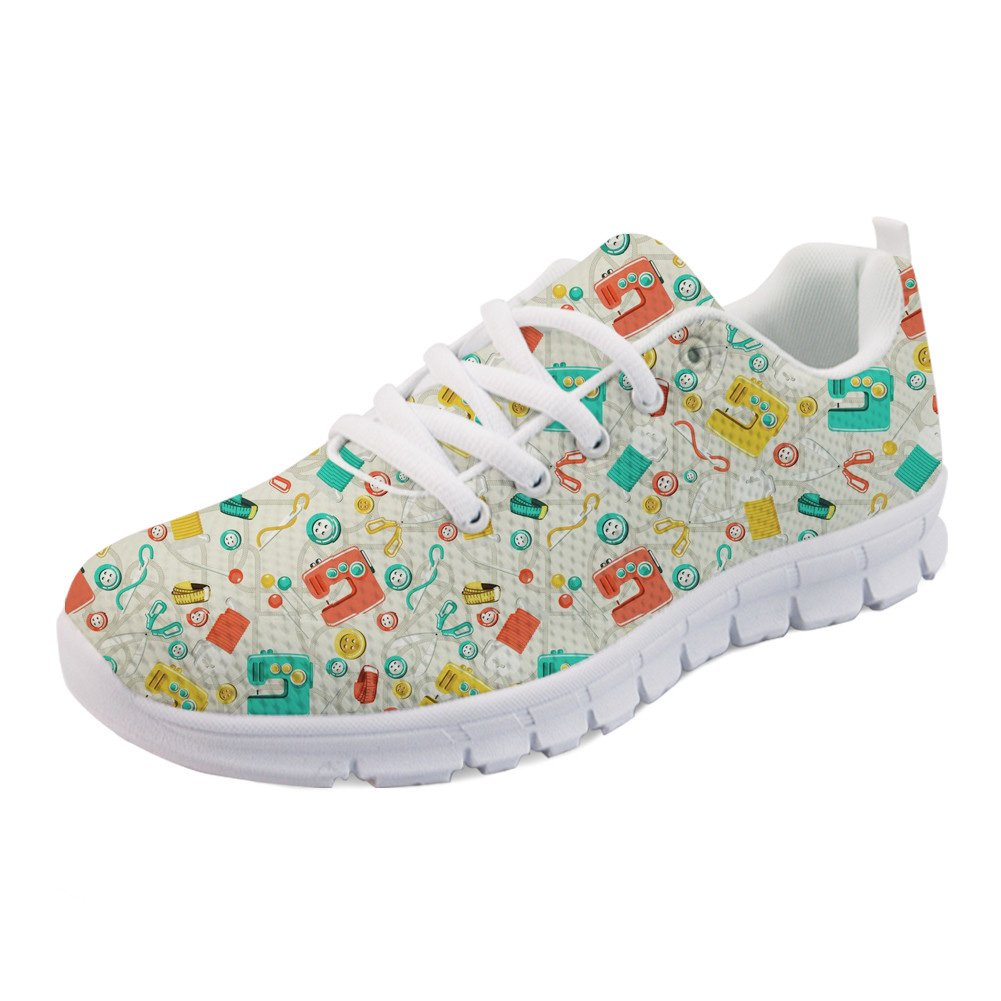 Coloranimal Spring Summer Running Walking Busy Quilter Flexible Elastic Sneaker US9