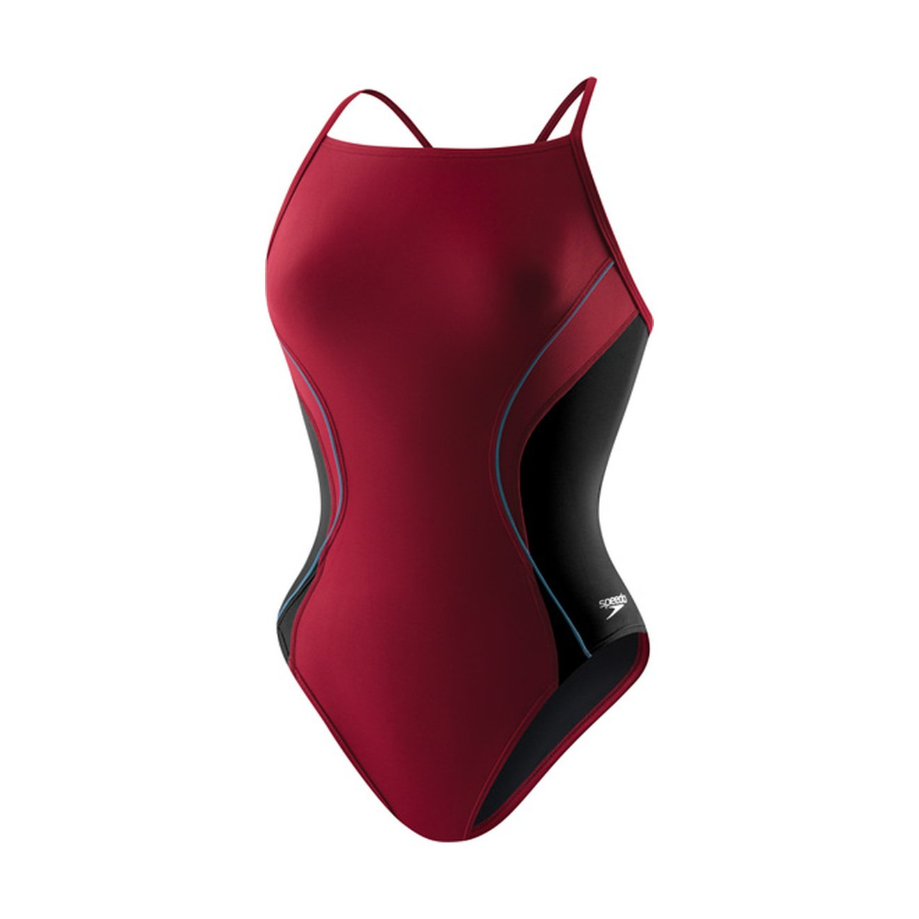Speedo Maroon Speedo Women's Power Flex Eco Revolve Splice Energy Back One Piece Swimsuit
