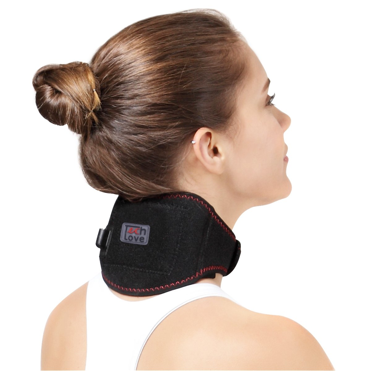 Heated Neck Brace Heat Therapy Cervical Wrap by TechLove with Moxa Bag for Men and Women Suffer Neck Pain, Injury, Stiffness and Headache (Black)
