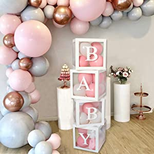 Baby Shower Decorations Large Transparent Balloons Decor Baby Box Baby Blocks Decorations for Baby Shower Boy Girl 1st Birthday Party Decorations by QIFU (White Baby Blocks)