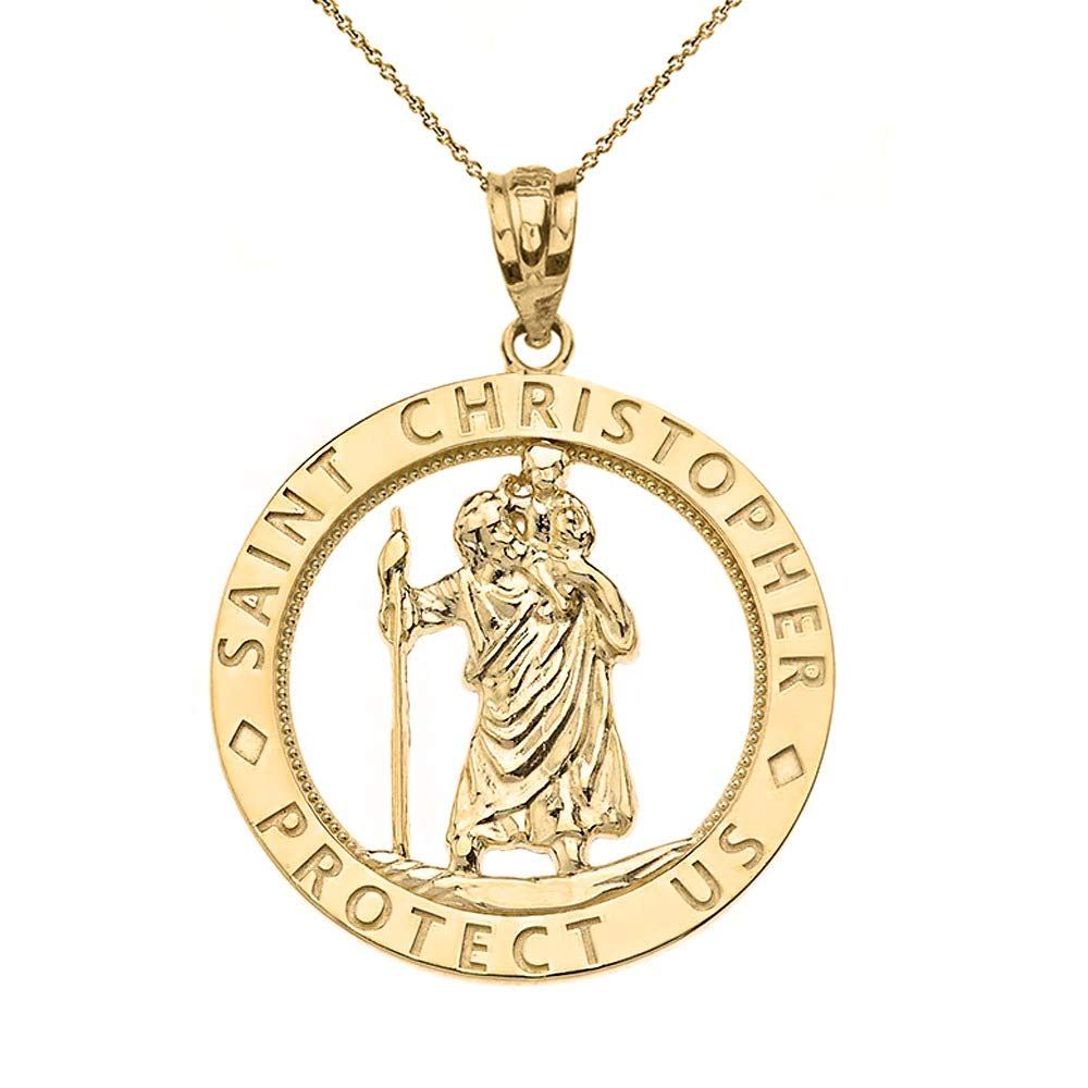CaliRoseJewelry 10k Gold St Christopher Protect Us Round Charm Pendant Necklace