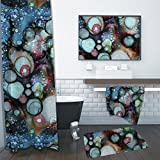 Shower in your own universe! 3 piece Galaxy bathroom set. Funky, colorful, designer bath accessories. Curtain, towel, and mat.