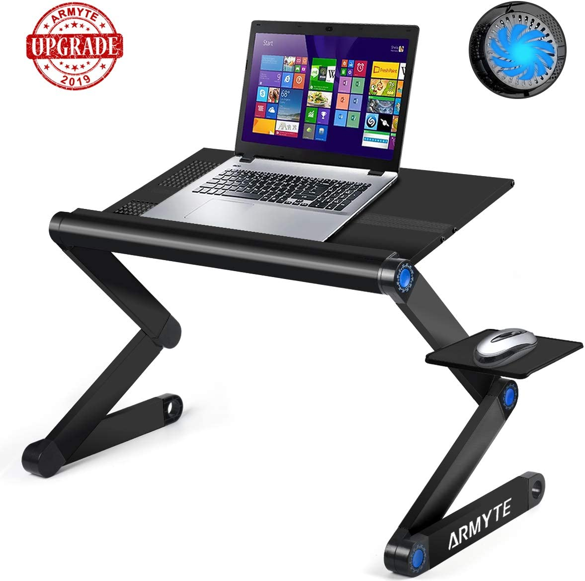 Adjustable Laptop Stand, (2019 Ultra-Large, Upgraded Sturdier) Foldable Aluminum Laptop Desk/Table, Portable Laptop Stand for Bed/Sofa/Desk with Large Cooling Fan & Mouse Pad Side as Gift, Black