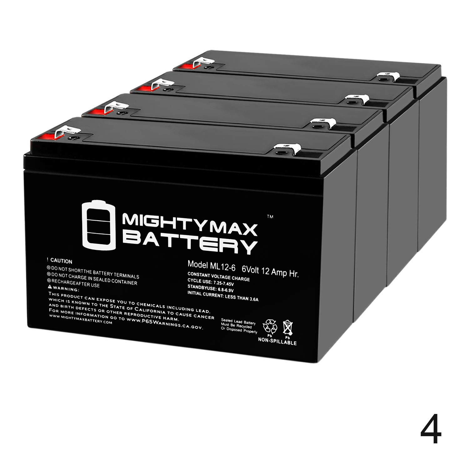 Mighty Max Battery 6V 12AH F2 SLA Battery for National Battery NB6-12HR - 4 Pack Brand Product by Mighty Max Battery